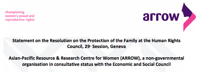 Statement on the Resolution on the Protection of the Family at the Human Rights Council 29th Session Geneva